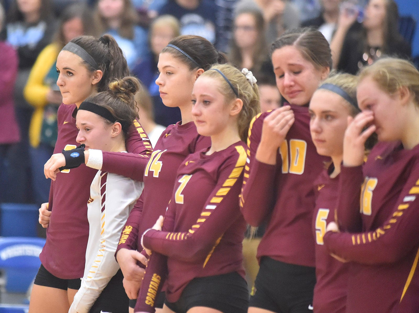 Luxemburg-Casco volleyball team watches as Little Chute receives sectional championship accolades at Wrightstown on Saturday, Oct. 27, 2018. Tina M. Gohr/USA TODAY NETWORK-Wisconsin