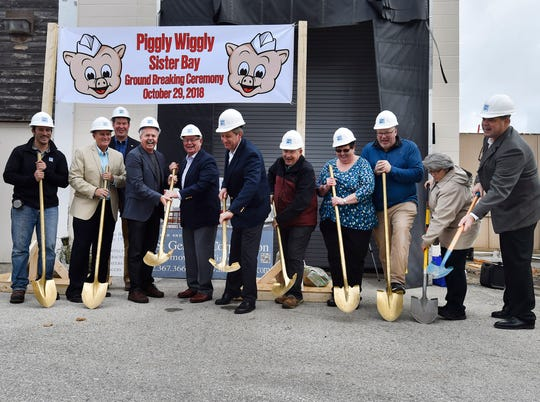 Piggly Wiggly and Sister Bay representatives take part in a ground-breaking ceremony at Piggy Wiggly Sister Bay, 10576 Country Walk Drive, on Oct. 29. After the expansion project is completed, the store will increase in size by about 70 percent. To see more photos, visit: www.doorcountyadvocate.com.