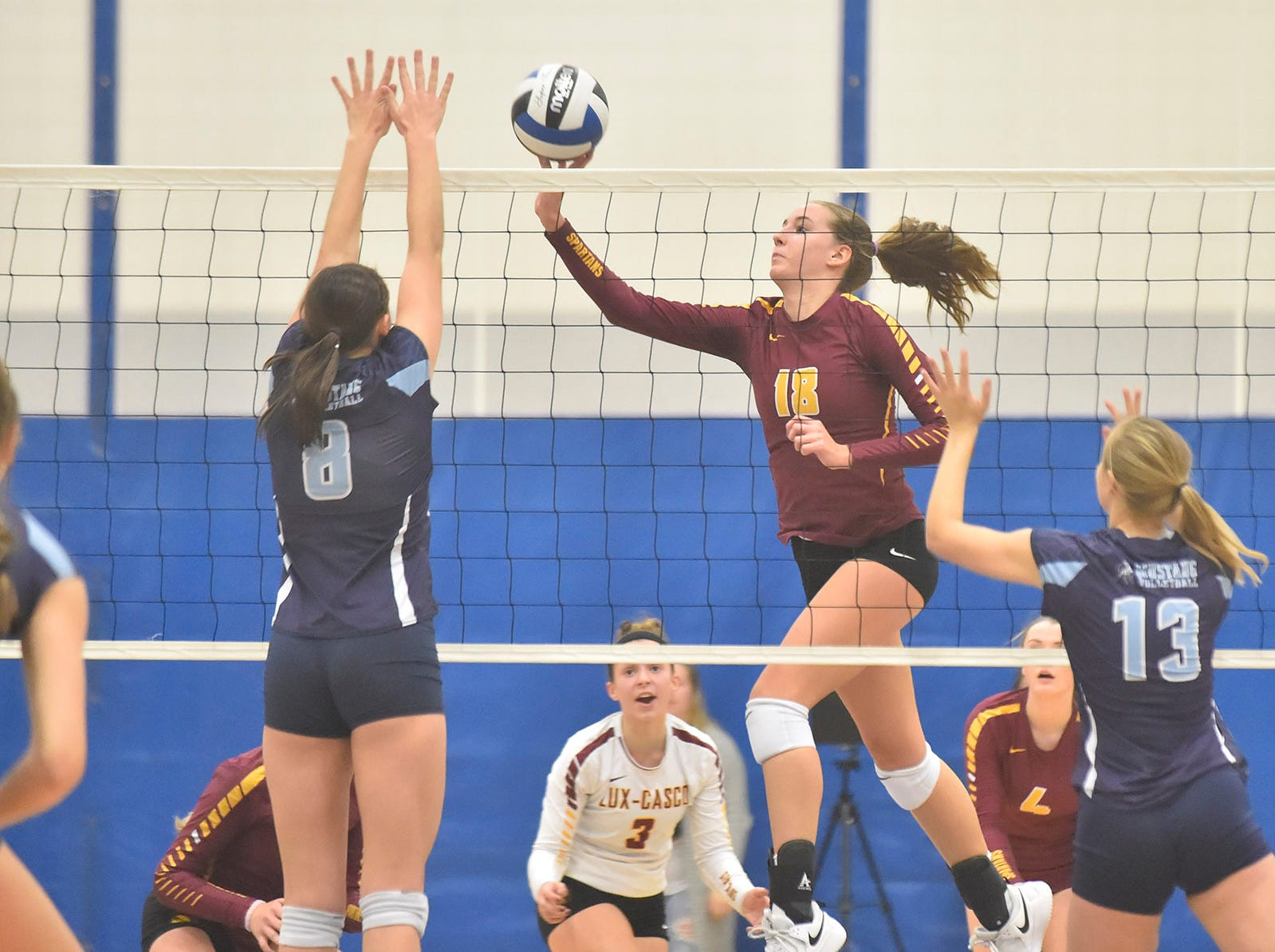 Hannah Derenne of Luxemburg-Casco at the WIAA Division 2 sectional final against Little Chute on Oct. 27, 2018, in Wrightstown. Tina M. Gohr/USA TODAY NETWORK-Wisconsin