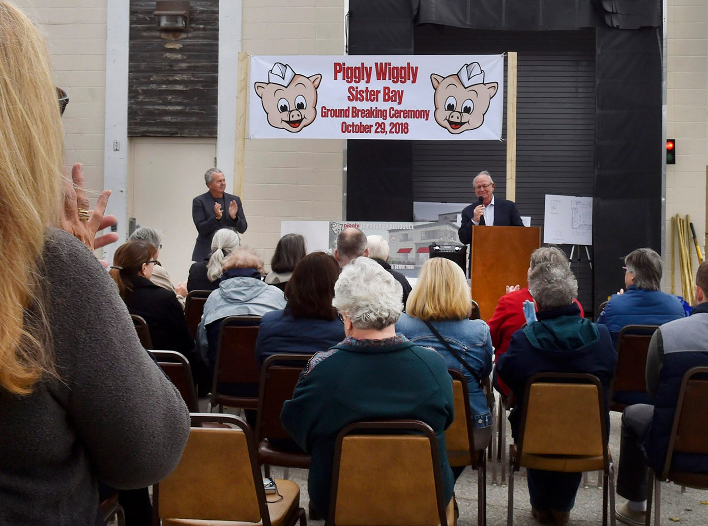About 50 people attended the ground-breaking ceremony of the Piggly Wiggly Sister Bay expansion project on Oct. 29, 2018. At the podium is the store's president Tom Nesbitt and at left is vice president Dan Nesbitt. Tina M. Gohr/USA TODAY NETWORK-Wisconsin