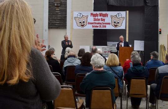 About 50 people attended the ground-breaking ceremony of the Piggly Wiggly Sister Bay expansion project on Oct. 29, 2018. At the podium is the store's president Tom Nesbitt and at left is vice president Dan Nesbitt. To see more photos, visit: www.doorcountyadvocate.com.
