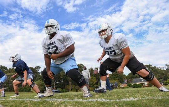 Southside Christian offensive linemen Noah Mangum, left, and Nigel Jenkins, are two of the four returning starters up front for the Sabres.