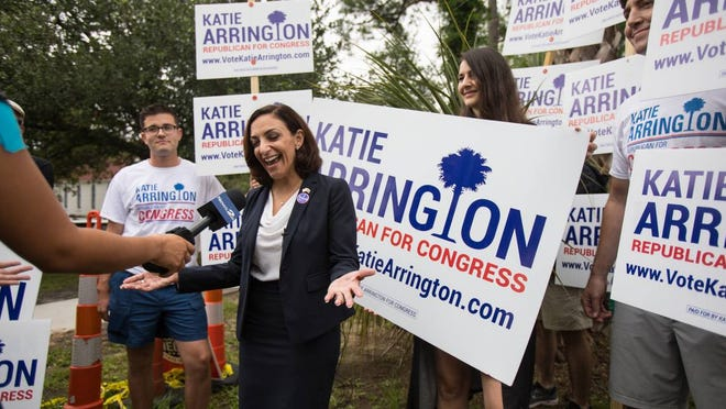 South Carolina Representative Katie Arrington, who is running for the first district of South Carolina, campaigns after voting for herself in the primary election on Tuesday, June 12, 2018 at Bethany United Methodist Church in Summerville.