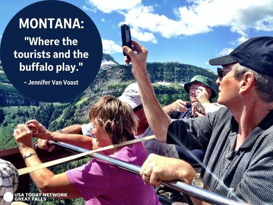 """""""Montana: Where the tourists and the buffalo play."""" - Jennifer Van Voast"""