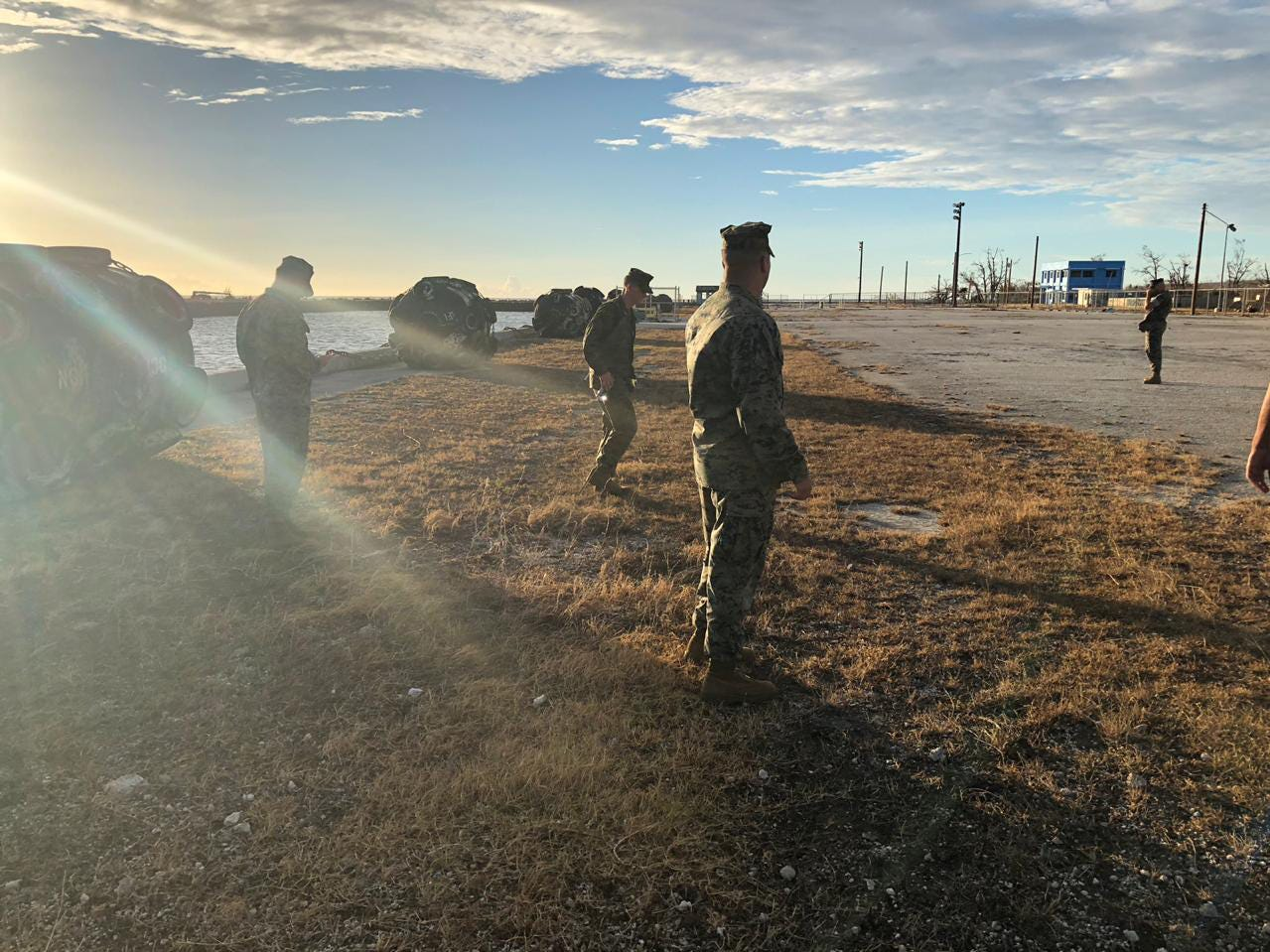 TINIAN, Commonwealth of the Northern Mariana Islands (Oct. 28, 2018) — U.S. Marines from Marine Corps Activity Guam assess damage to the port in Tinian to support future port operations for recovery efforts following Super Typhoon Yutu Oct. 28. Marines are in Tinian to oversee airport for all inbound Department of Defense support to local and civil officials as part of the Federal Emergency Management Agency-supported typhoon recovery efforts.