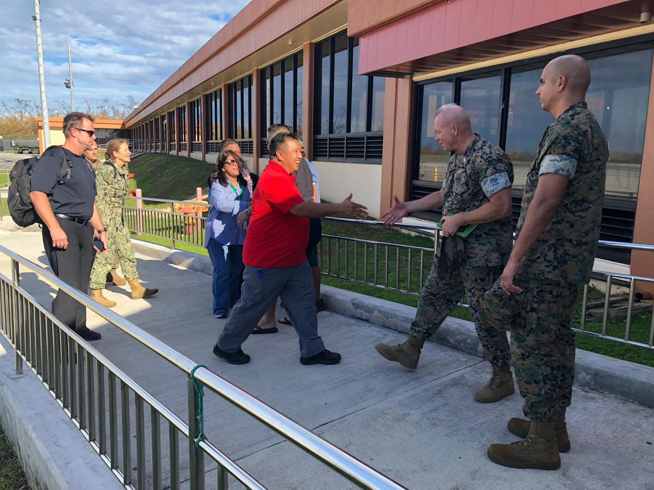 TINIAN, Commonwealth of the Northern Mariana Islands (Oct. 28, 2018) — Commonwealth of the Northern Mariana Islands Gov. Ralph Torres meets with Col. Brent Bien, Marine Corps Activity Guam officer in charge, and Federal Emergency Management Agency officials to discuss relief efforts in Tinian following Super Typhoon Yutu Oct. 28. Service members from Joint Region Marianas and Indo-Pacific Command are providing Department of Defense support to the CNMI's civil and local officials as part of the FEMA-supported Super Typhoon Yutu recovery effort.