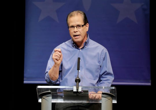 Republican former state Rep. Mike Braun speaks during a U.S. Senate Debate against Republican former state Rep. Mike Braun and Libertarian Lucy Brenton, Tuesday, Oct. 30, 2018, in Indianapolis.