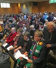 Worshippers and faith leaders gathered Oct. 29, 2018, at the Indianapolis Hebrew Congregation on the north side to remember the victims of the shootings in a Pittsburgh synagogue.