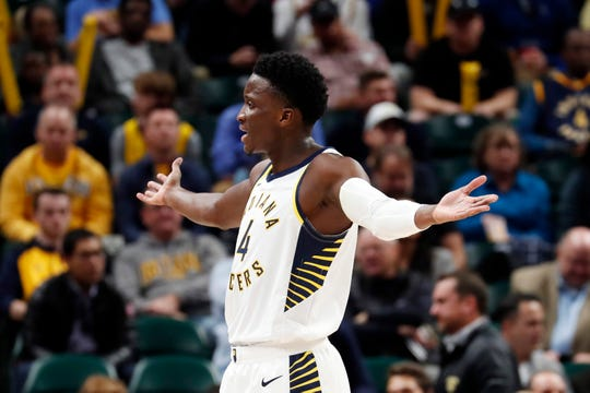 Indiana Pacers guard Victor Oladipo (4) reacts to a call in a game against the Portland Trail Blazers during the third quarter at Bankers Life Fieldhouse.