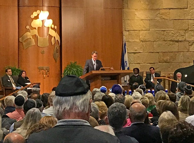 Indianapolis Mayor Joe Hogsett addresses a crowd at the Indianapolis Hebrew Congregation on Oct. 29, 2018 in response to the fatal shootings at a Pittsburgh synagogue.