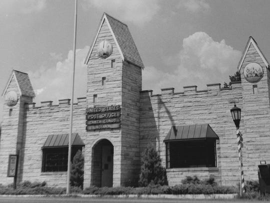 Uncle Sam's most popular post office is in Santa Claus Indiana. This building is made of Spencer County sandstone. 1962 photo