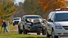 The scene is investigated on State Rd. 25 in Rochester, IN, where a pickup truck hit and killed three young children and critically injured a fourth as the children crossed the street to get on a school bus, Tuesday, Oct. 30, 2018. The bus was stopped with lights and stop indicators in use.