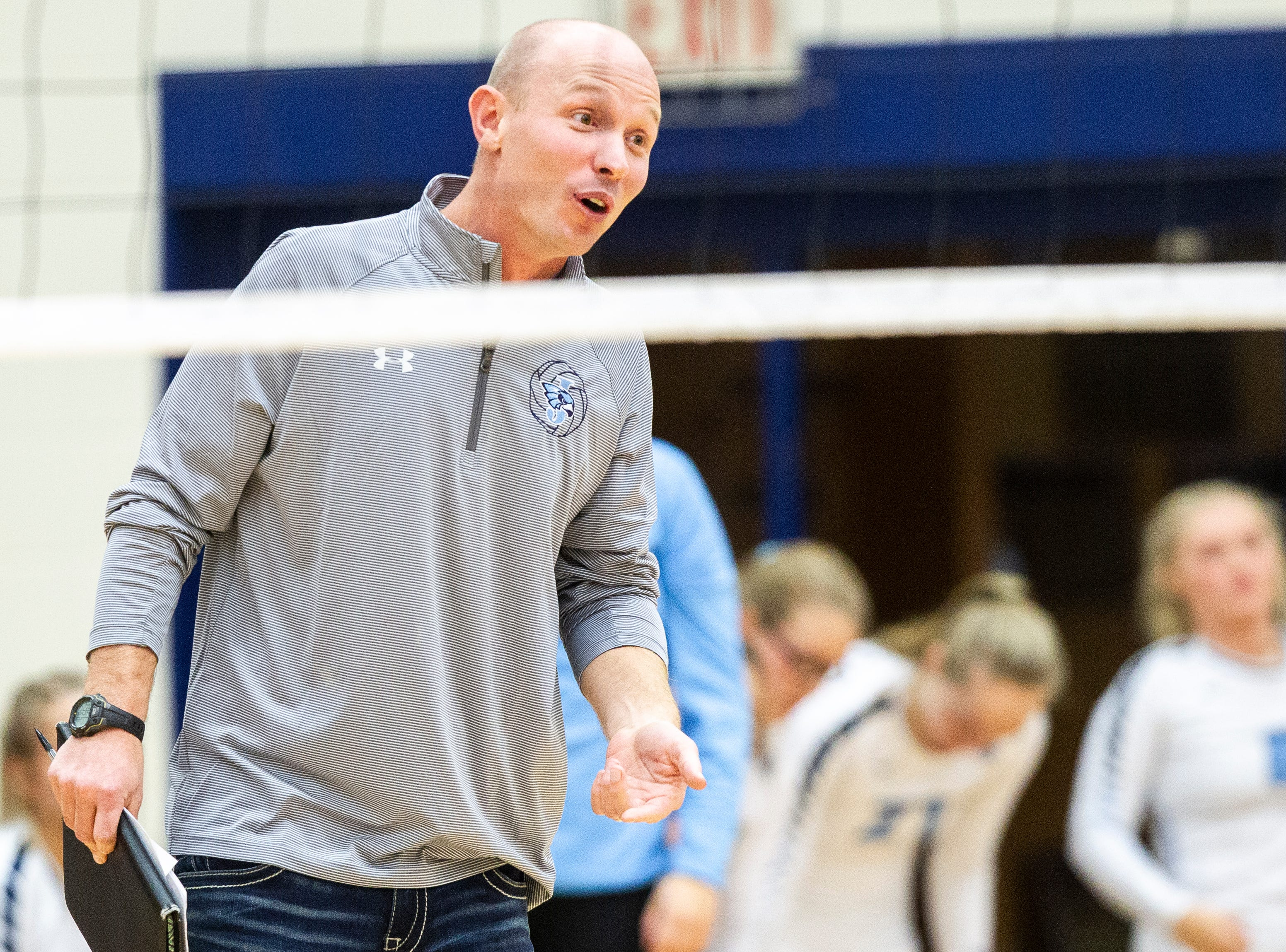 Cedar Rapids Jefferson volleyball head coach Will Norton calls out to players during a Class 5A volleyball regional final game on Monday, Oct. 29, 2018, at Jefferson High School in Cedar Rapids.