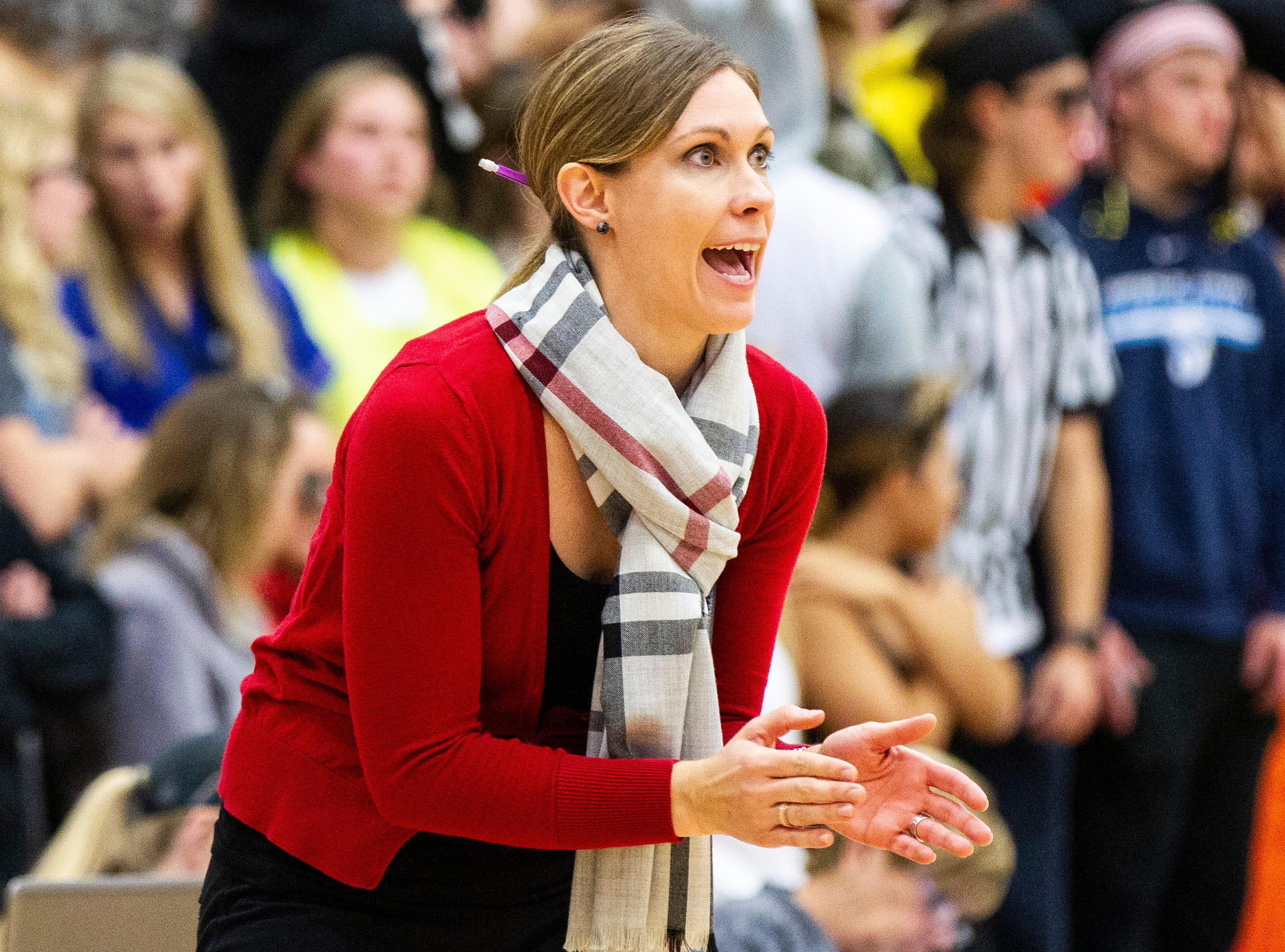 Iowa City High volleyball head coach Tricia Carty calls out to players during a Class 5A volleyball regional final game on Monday, Oct. 29, 2018, at Jefferson High School in Cedar Rapids.