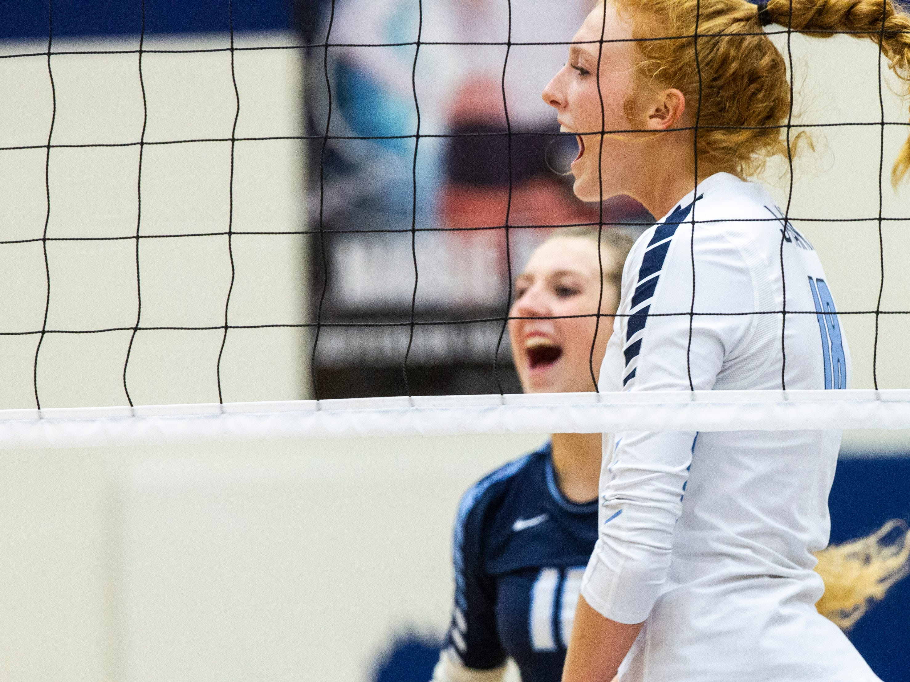 Cedar Rapids Jefferson's Maggie Peters (18) celebrates a point during a Class 5A volleyball regional final game on Monday, Oct. 29, 2018, at Jefferson High School in Cedar Rapids.