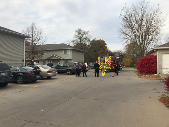 First responders finish the containment of an apartment fire in North Liberty Tuesday, Oct. 30.