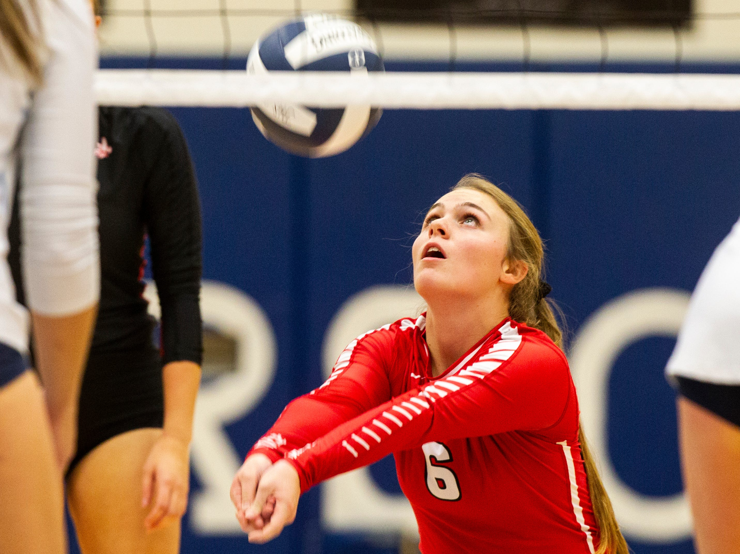 Iowa City High's Brooke Bormann hits a ball during a Class 5A volleyball regional final game on Monday, Oct. 29, 2018, at Jefferson High School in Cedar Rapids.