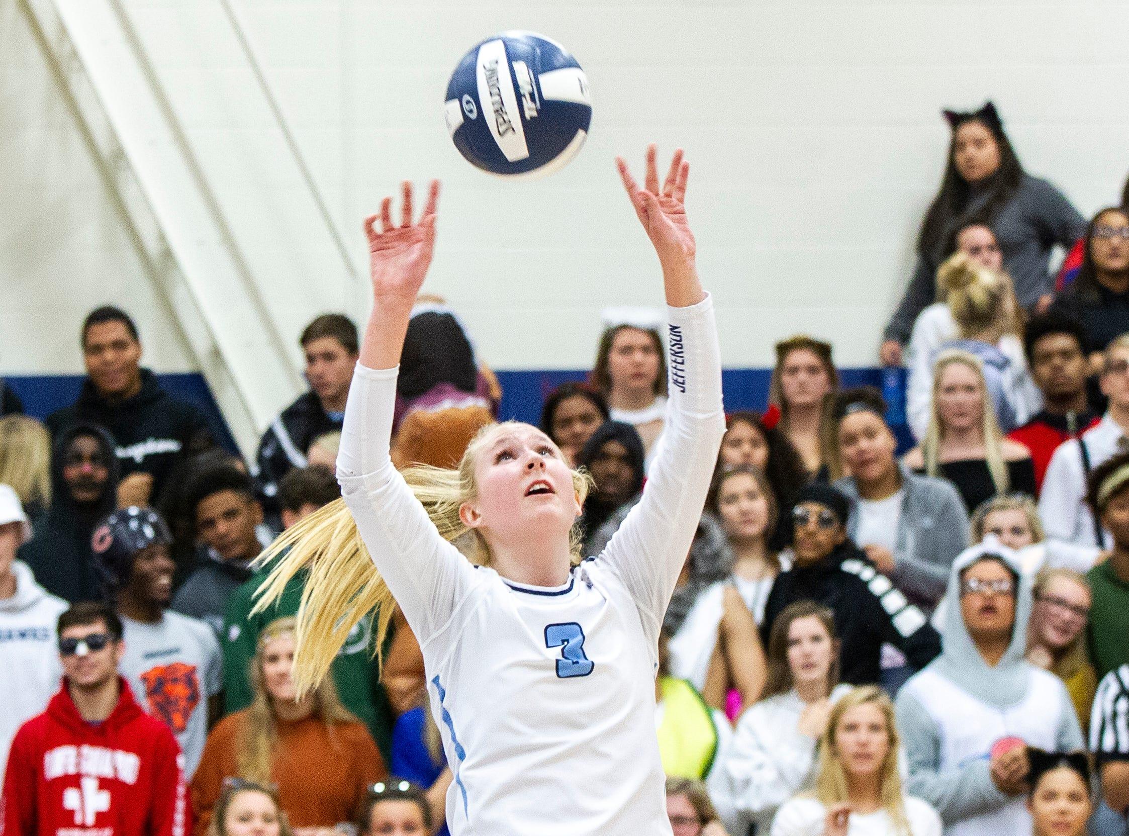 Cedar Rapids Jefferson's Maddy Baxter sets a ball during a Class 5A volleyball regional final game on Monday, Oct. 29, 2018, at Jefferson High School in Cedar Rapids.