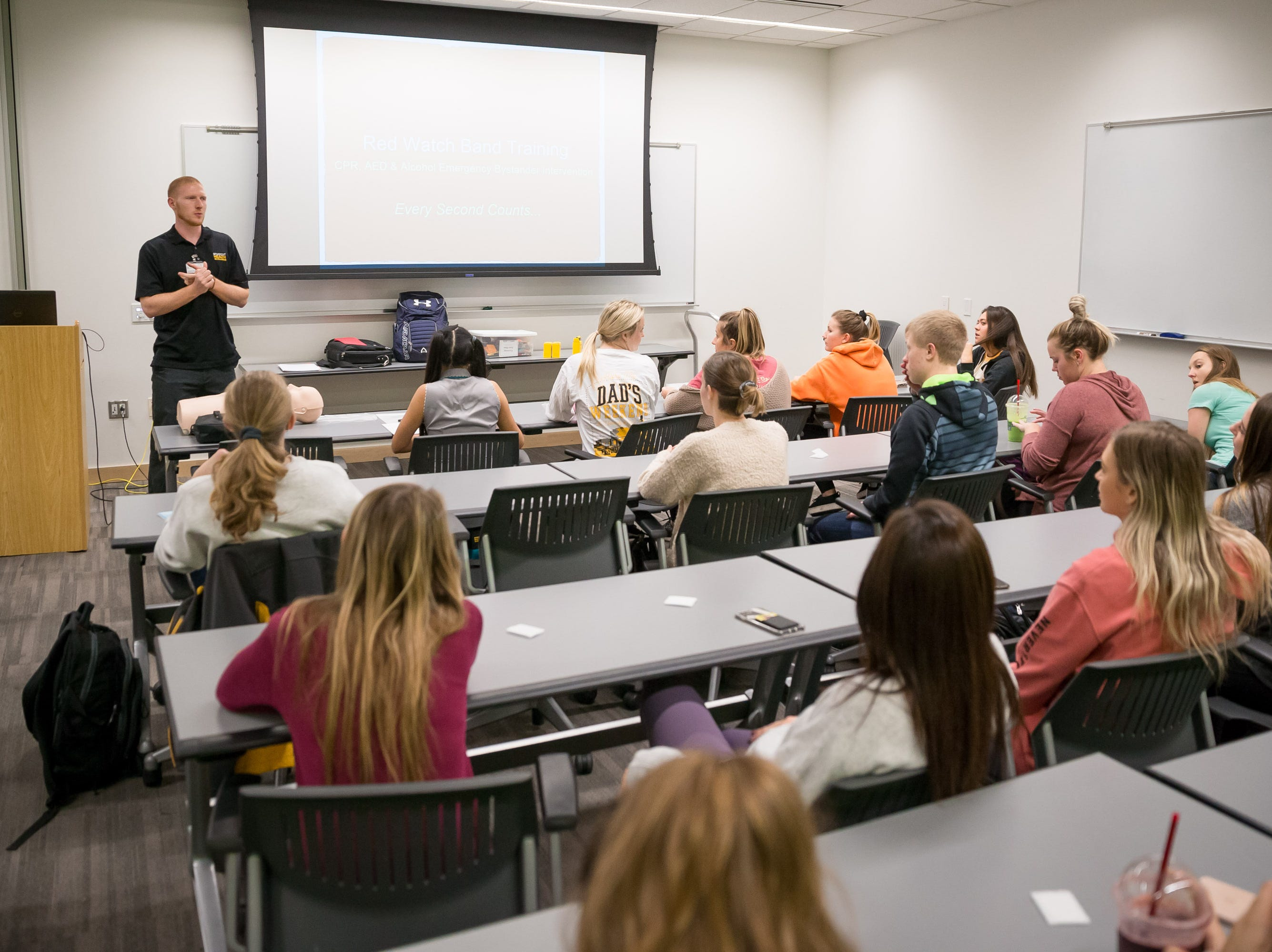 Behavioral health coordinator Dakota Fix addresses a classroom of UI students on CPR techniques at the UI Campus Recreation & Wellness Center on Monday, October 29, 2018.