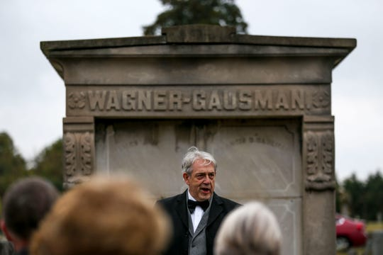 Speakers present monologues from the perspective of different historic figures during Ghost Walk tour at Riverside Cemetery in Jackson, Tenn., on Friday, Oct. 26, 2018.