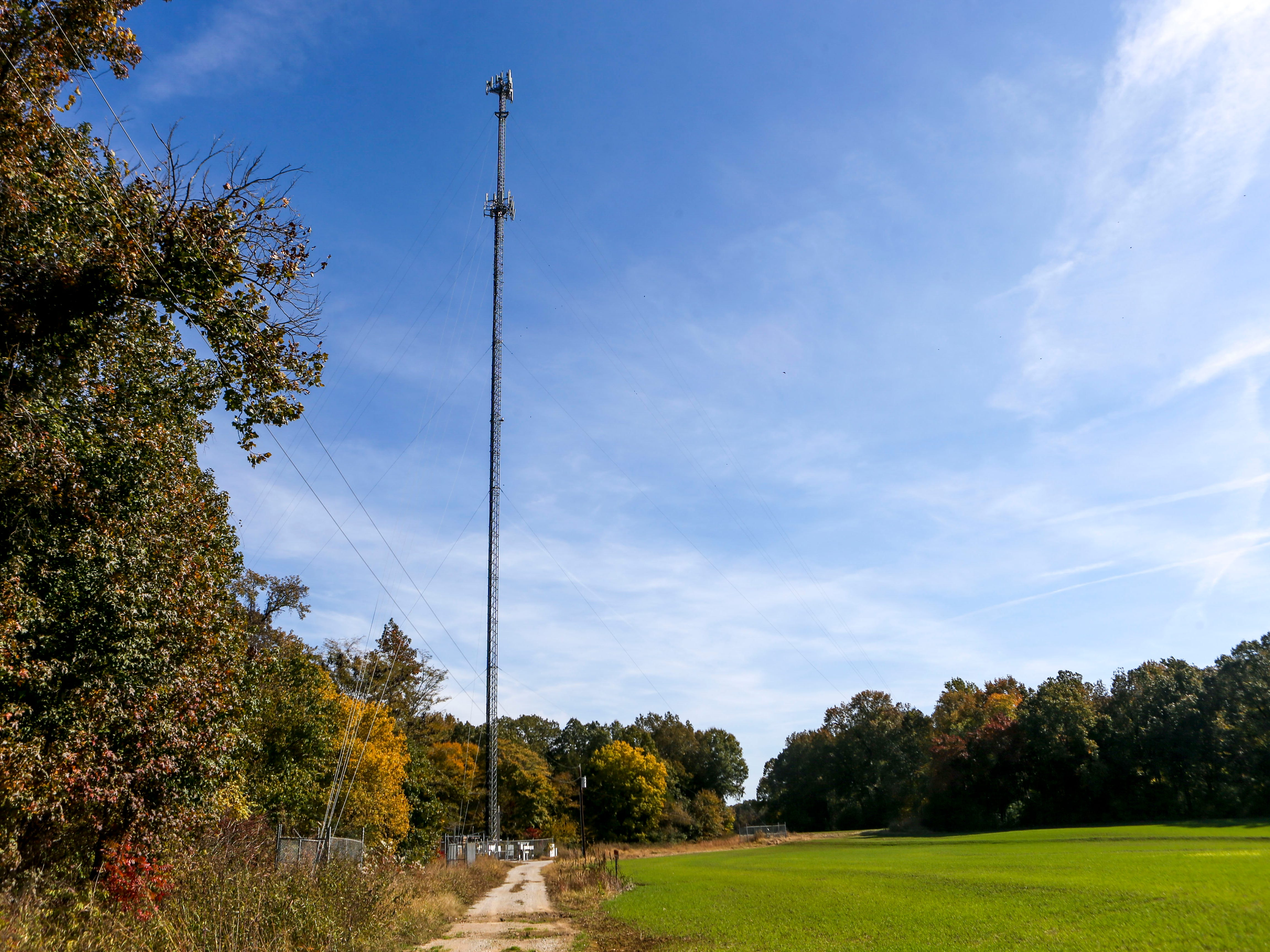 Down a dirt and gravel access road an AT&T tower thats been better equipped for wireless broadband internet can be seen during a ceremonial opening for the expansion of wireless broadband coverage through AT&T cell towers at 4567 Brownsville Hwy in Denmark, Tenn., on Tuesday, Oct. 30, 2018.