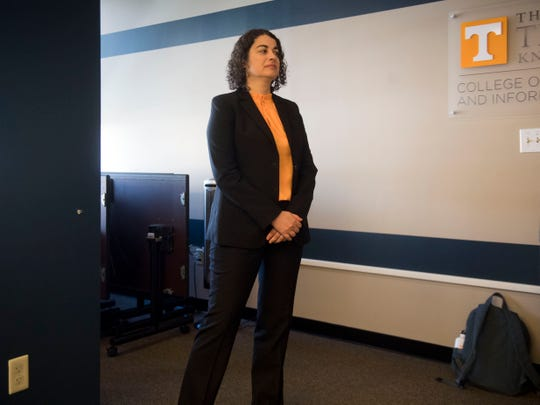 Tisha Benton waits to be introduced during a forum UT's Communications Building on Monday, October 22, 2018.