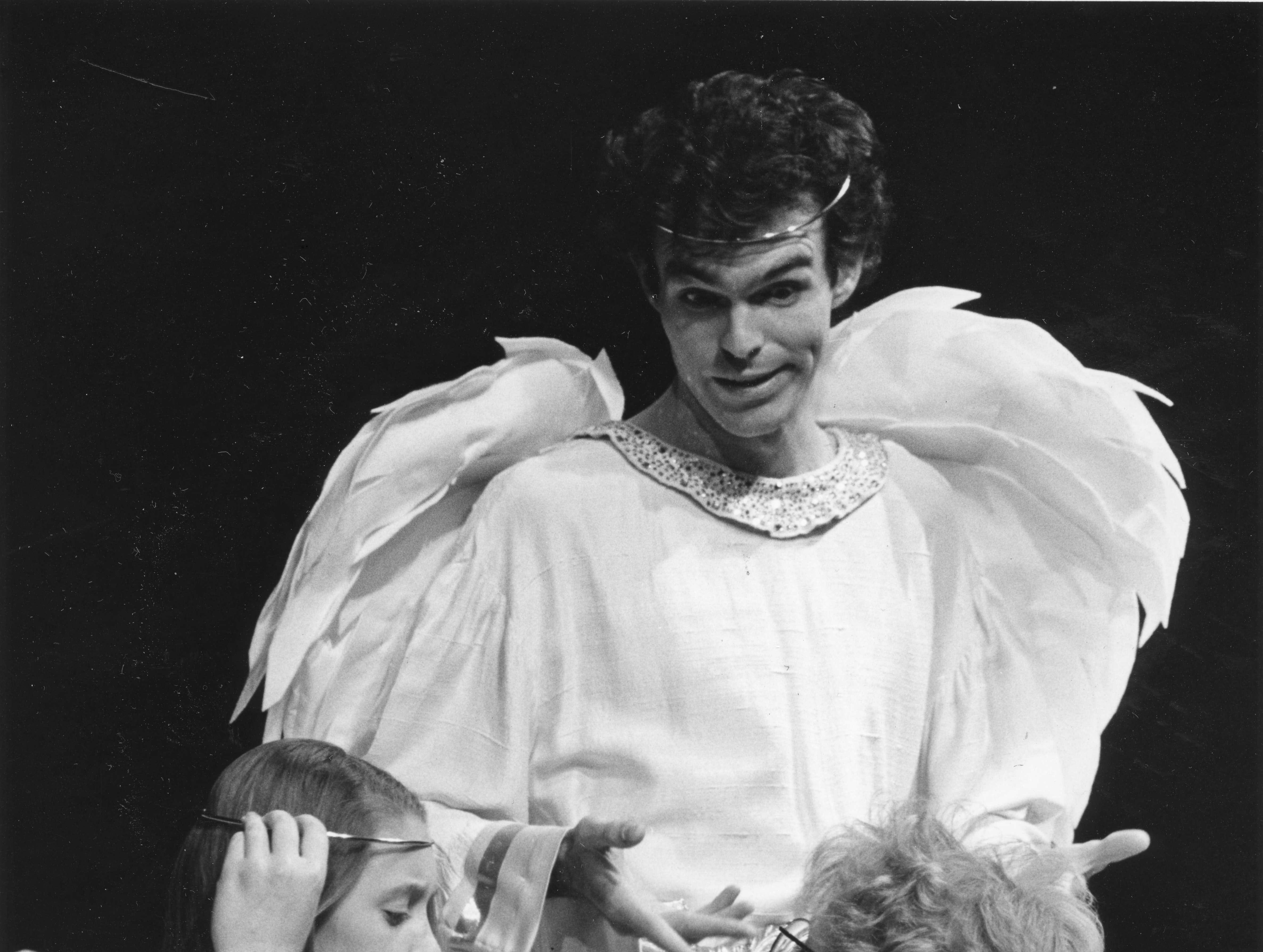 """Stephanie Lechner adjusts a halo on Brittany Nolan as Eric McLeod looks on during a dress rehearsal for """"The Littlest Angel"""" on December 4, 1988 at the Bijou Theatre ."""