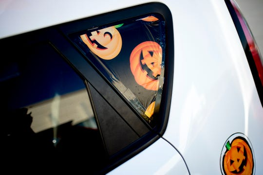 Decorations adorn David Weech's Halloween-themed Kia Soul.