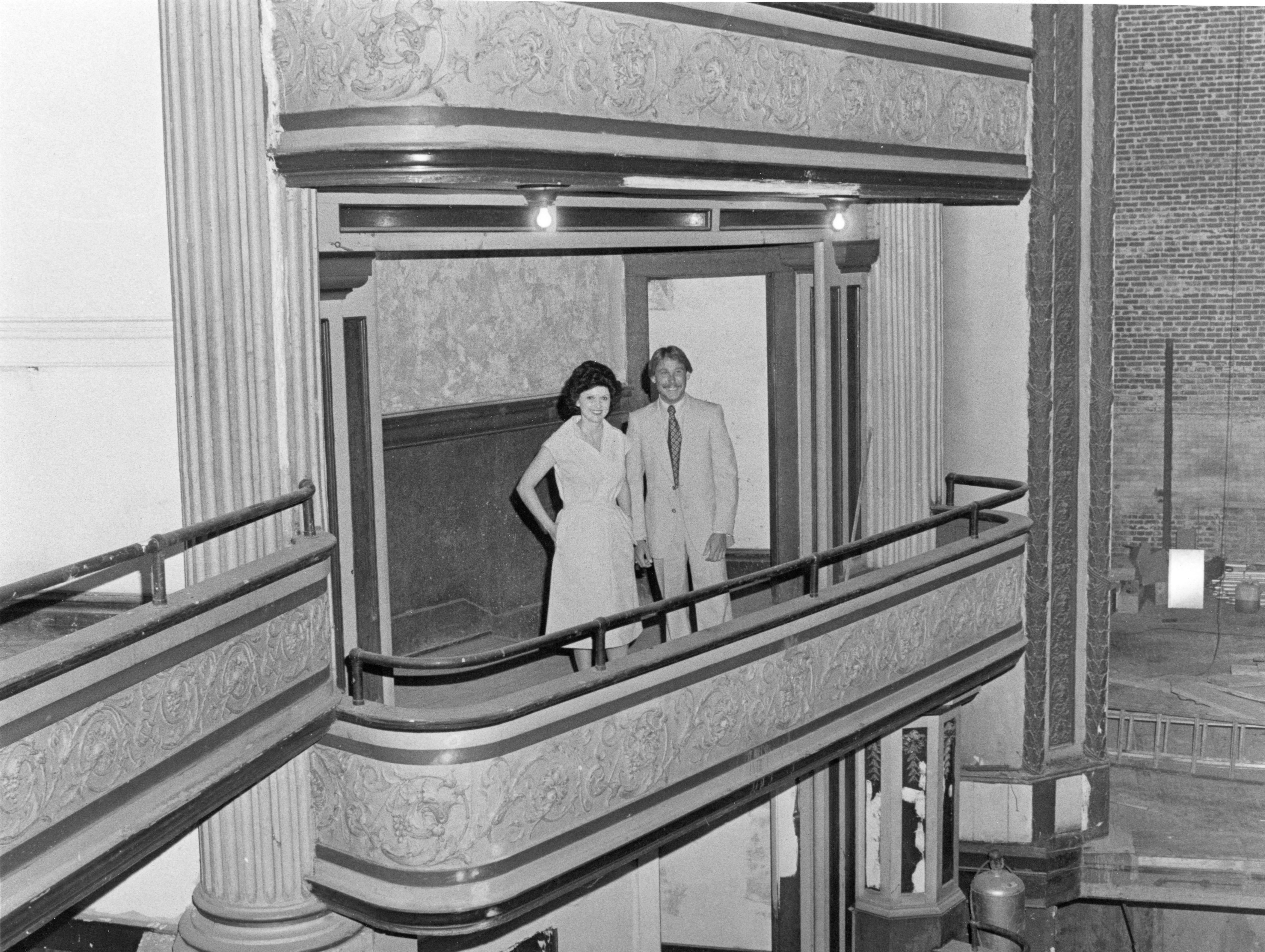 New board members Sonya Butcher and Richard Cooper stand on the balcony of the Bijou Theatre in this undated photo.