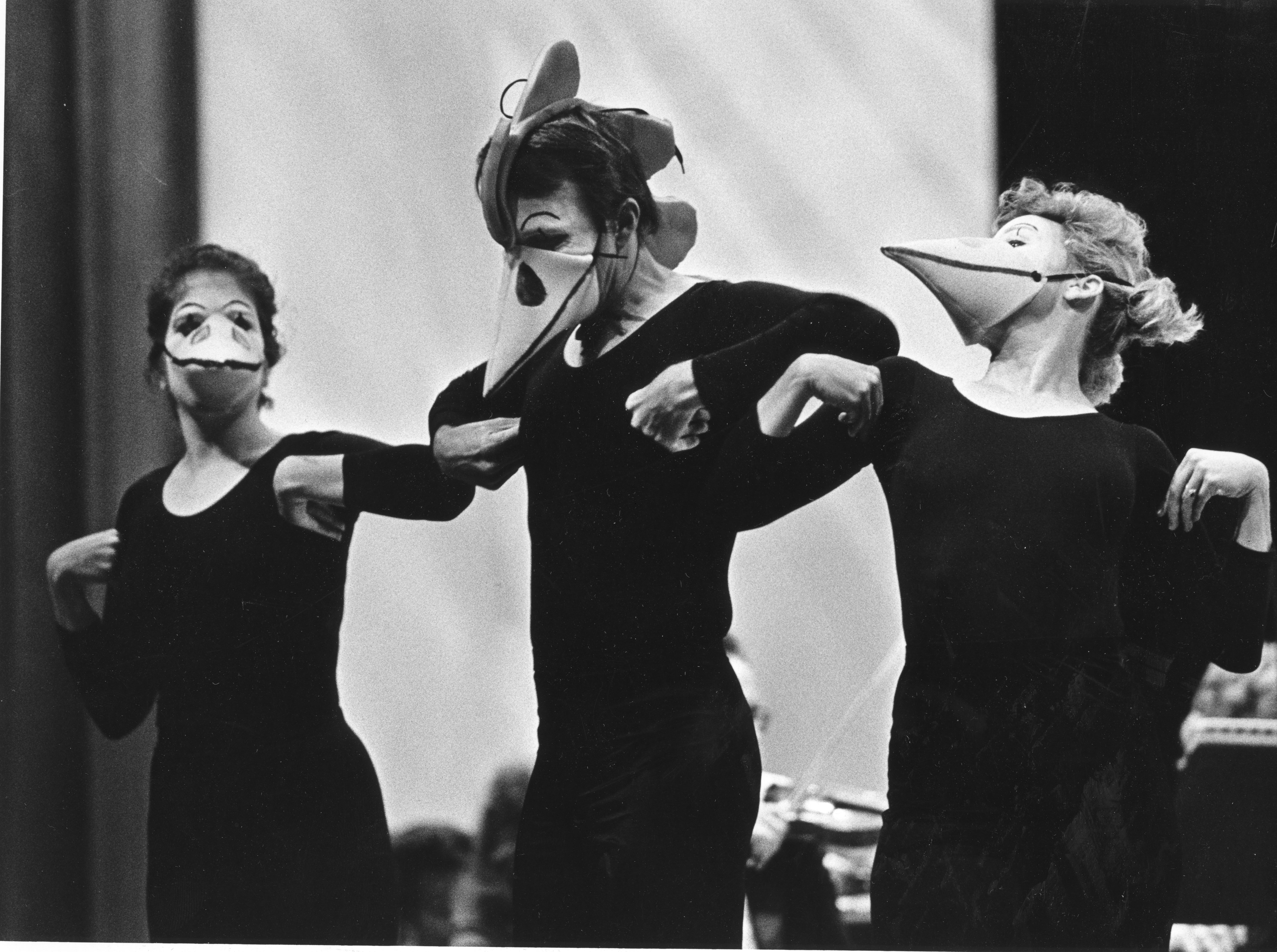 """Animal Crackers: First in the Young People's Concerts. The mime Theatre Co of the Bijou Theatre Academy presents """"The Hen"""" from Birds of Respighi on October 22, 1985."""
