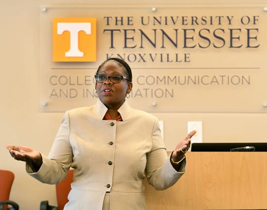 Renea Morris, the third candidate for Vice Chancellor for Communications, during an open forum on campus Tuesday, October 30, 2018.