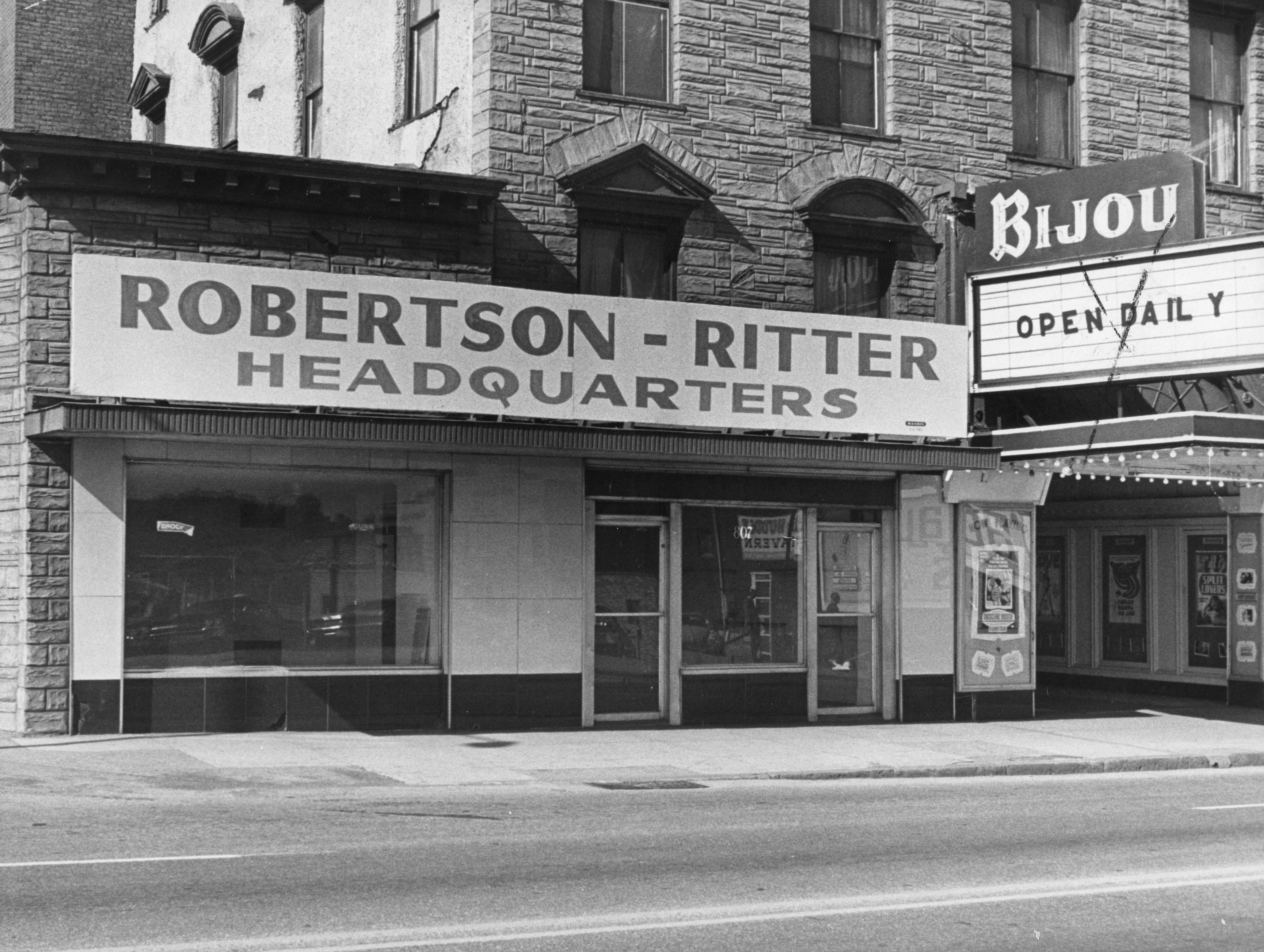 The Robertson-Ritter entrance beside the Bijou Theatre on October 7, 1970.