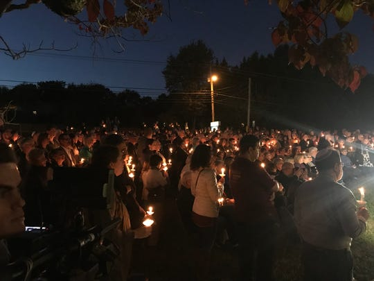 Hundreds gathered at Arnstein Jewish Community Center Monday night for a vigil in support of Knoxville's Jewish community.