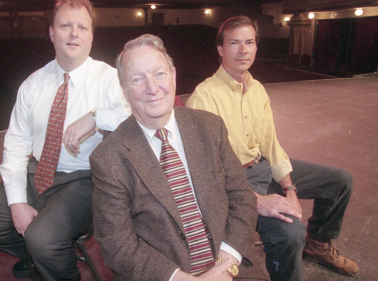 David Moon, Bob Webb and Jay Dunlap are part of the Bijou Theatre board who are responsible for getting the big renovation project in action. They pose for a photo on the theatre' stage on March 7, 1999.