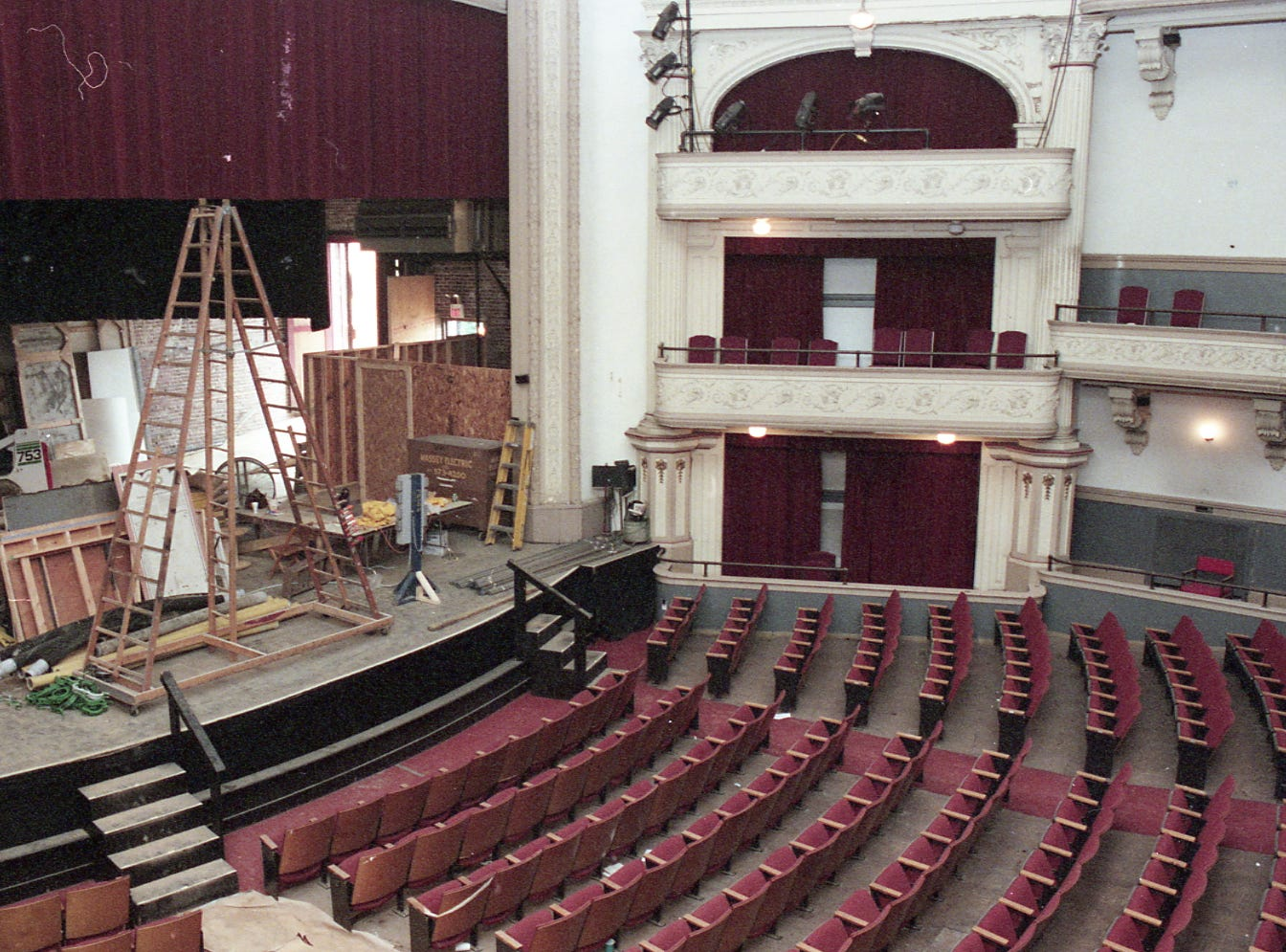 A $1.8 million renovation is underway on the 750-seat Bijou Theatre on August 2, 1998.