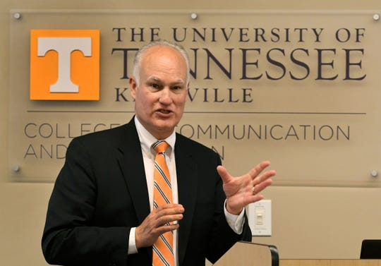Tom Hutton, the second candidate for Vice Chancellor for Communications, during an open forum on campus Monday, October 29, 2018.