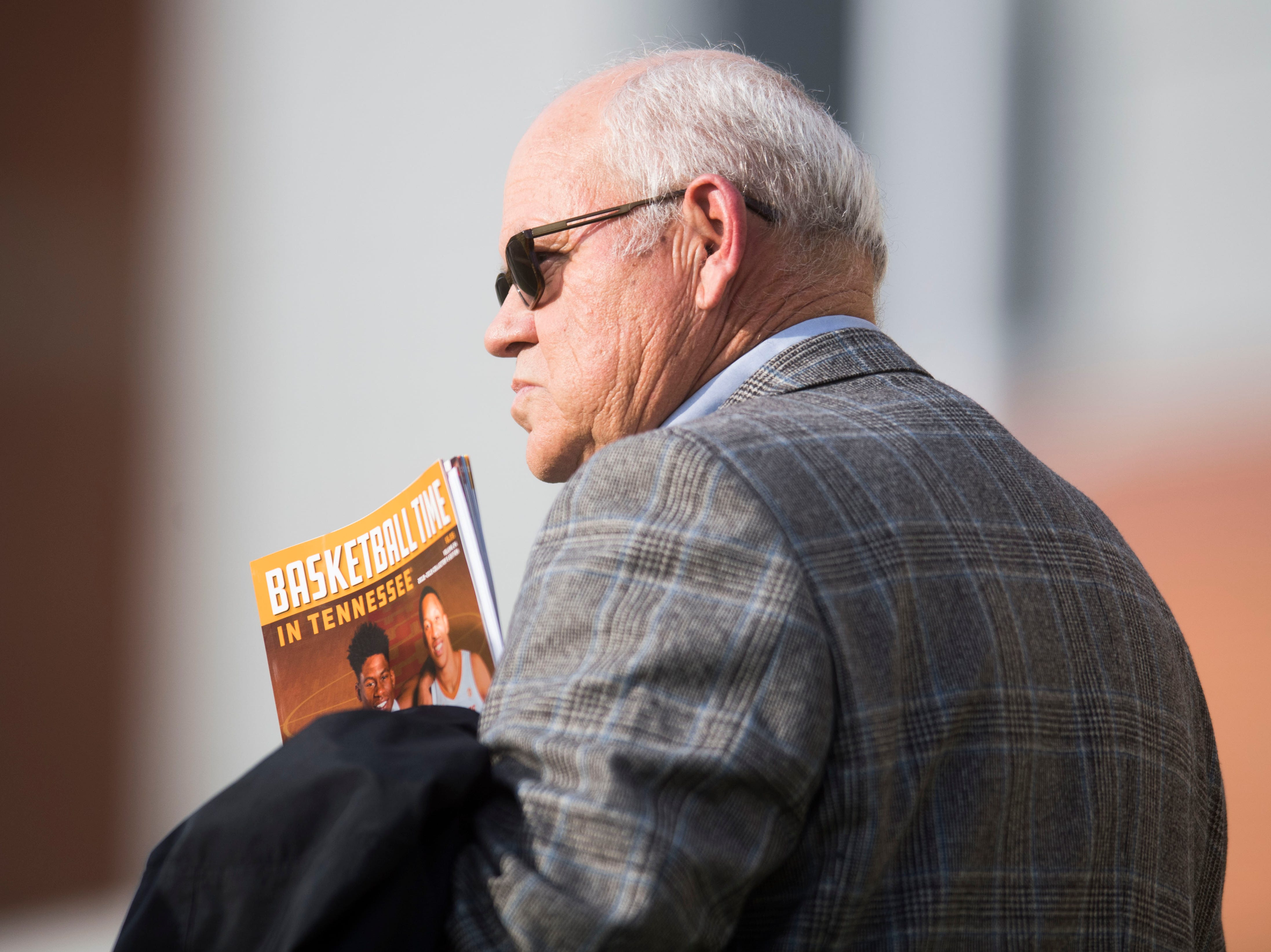Tennessee athletic director Philip Fulmer stands on the sidelines during a Tennessee Vols football practice at University of Tennessee Tuesday, Oct. 30, 2018.
