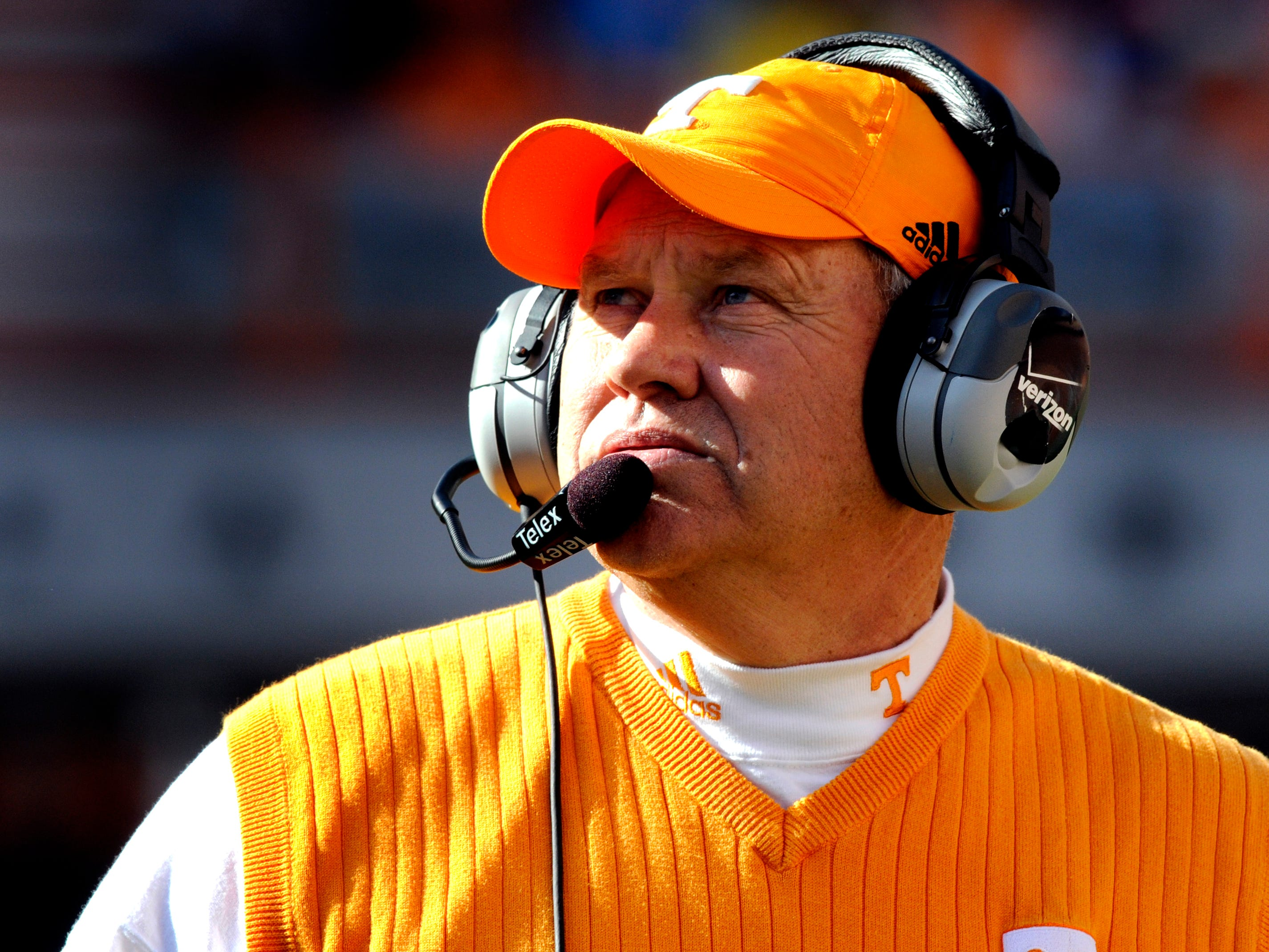 Tennessee Volunteer head coach Phillip Fulmer watches a replay on the jumbotron during their 13-7 homecoming loss to the University of Wyoming Cowboys Saturday in 2008 in Neyland Stadium.