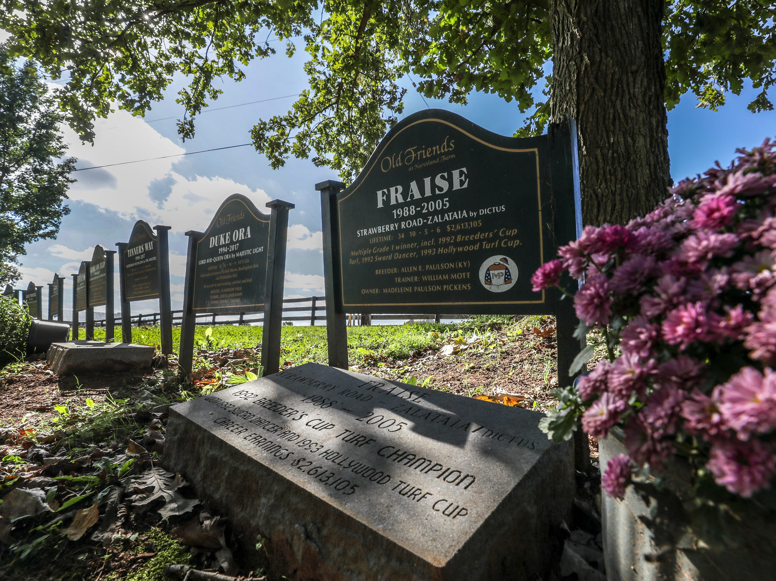 Old Friends Farm graveyard in Georgetown where many Breeders Cup champions are buried.October 10, 2018