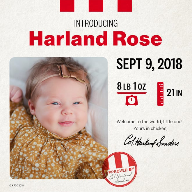 Harland Rose was named after Colonel Harland Sanders in a contest offered by KFC
