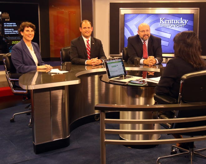 From left, Amy McGrath (Democrat), Andy Barr (Republican), Frank Harris (Libertarian) and KET host Renee Shaw at the 6th Congressional Debate at KET in Lexington, Oct. 29, 2018.