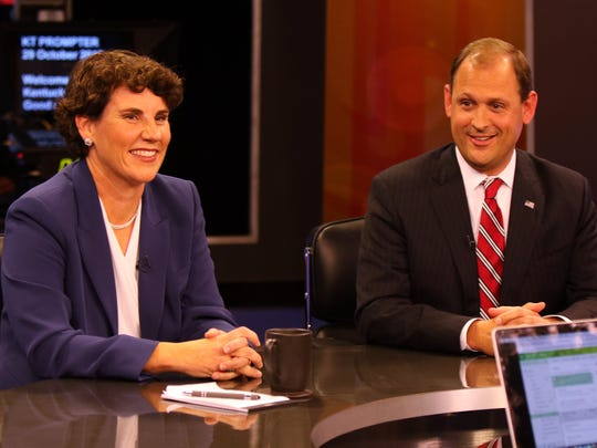 Amy McGrath (Democrat) and Andy Barr (Republican) at the 6th Congressional Debate at KET in Lexington, Oct. 29, 2018.