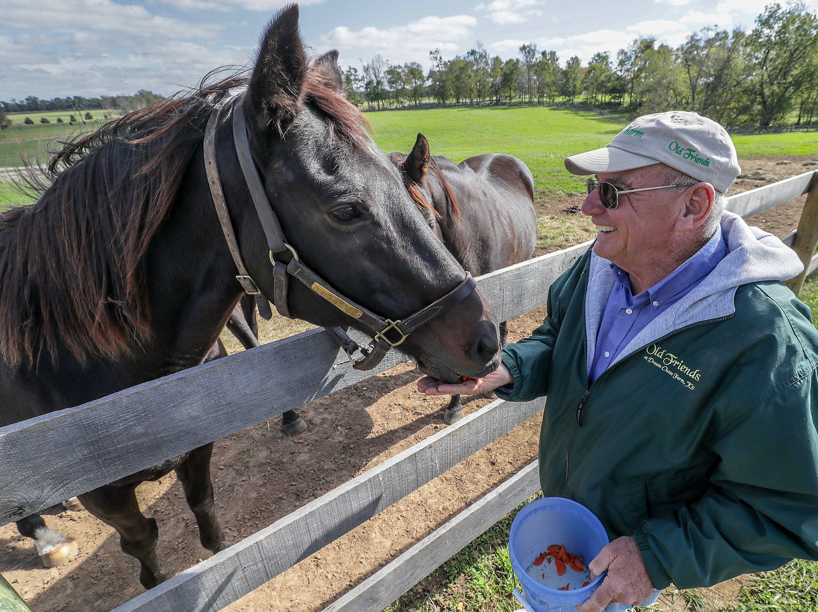 Old Friends Farm founder Michael Blowen with Cajun Beat, the Breeders Cup Sprint winner from 2013.October 11, 2018
