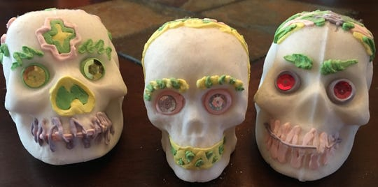 Sugar skulls are a common decoration on Day of the Dead altars.