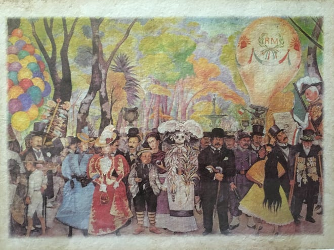 "A print of Diego Rivera's mural Sueño de una tarde dominical en la Alameda Central, in which Diego Rivera, a fan of José Guadalupe Posada's work, incorporated one of Posada's most recognizable figures, ""La Catrina."""