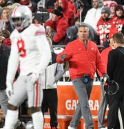 Ohio State football coach Urban Meyer watches in the fourth quarter at Purdue as the Boilermakers ring up 28 points en route to a stunning 49-20 victory.