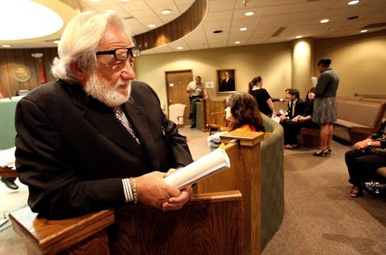 """July 13, 2011 -  Marvin Ballin, 80, """"holds court"""" in Div.V of Criminal Court between cases.  (Dave Darnell / The Commercial Appeal)"""