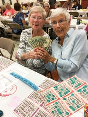 Knights of Columbus San Marco Council #6344 big jackpot winners, Jane Pietrowitz and Muriel LaPointe.