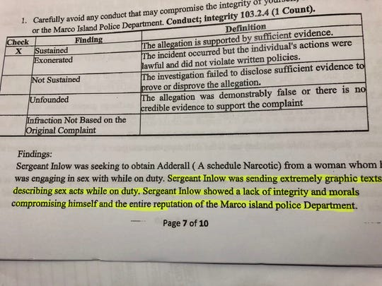 Sexting was cited as one the reasons for sustaining three violations of police policy against then-Sgt. James Inlow.