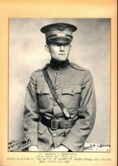 """Marion Cranefield left University of Wisconsin-Madison in his junior year to enlist in the Army. He was badly wounded in a charge near Roncheres, France, but urged his men forward until he was struck in the head and killed on July 30, 1918. He wrote home that France was """"a wonderful country and worth dying for."""" Cranefield was buried in France but brought back to Madison a few years later along with around a dozen other battlefield casualties and interred at Forest Hill Cemetery."""